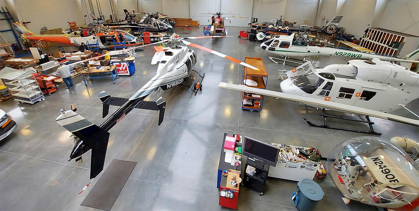 Full Hangar at Helicopter Specialties low res